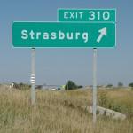 Strasburg exit sign