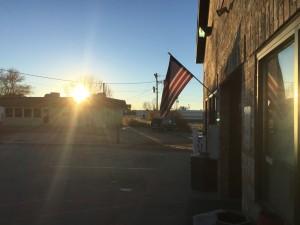 Sun and a flag