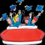 Graduates in car throwing hats